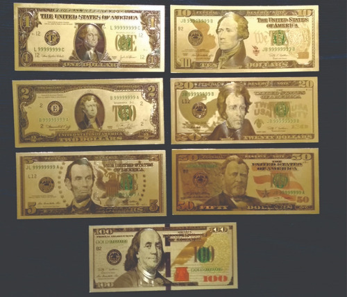 Billetes De Dolar Set 7 Laminas Doradas De Colección ( P 83