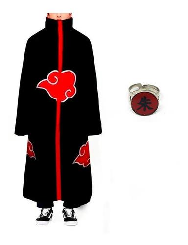 Kit Manto Akatsuki Fantasia Cosplay Naruto Anel Itachi M28