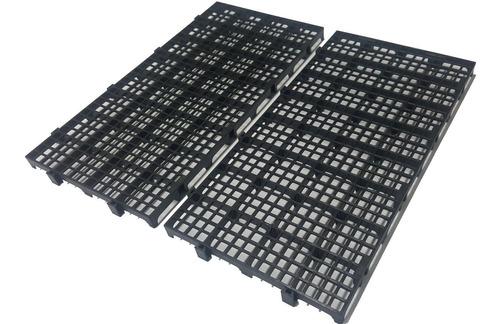 Kit 03 Pçs - Palete Estrado Plástico Preto 2,5 X 25x50 Cm