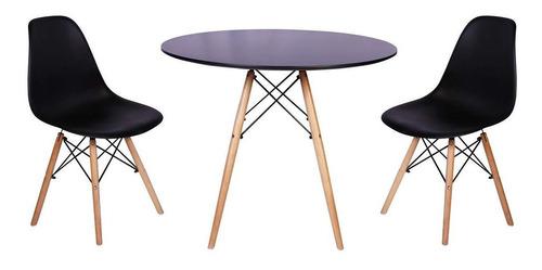 Kit Mesa De Jantar Preta Eames 90cm + 2 Cadeiras Charles