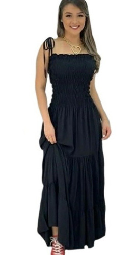 Vestido Feminino Ciganinha  Longo Alcinha Verão Moda Casual