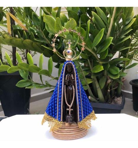 Nossa Senhora Aparecida Pérola Azul Coroa Resplendor 28cm