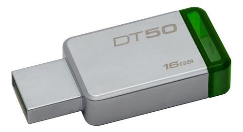 Pendrive Kingston Datatraveler 50 16gb 3.1 Gen 1 Plateado/verde