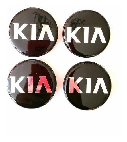 4 Centros De Rines Para Autos Kia 56mm Negros
