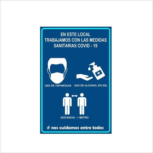 Carteleria Comercios Lavado De Manos Uso Alcohol Y Tapabocas