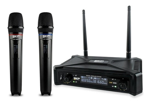 Microfones Sem Fios Skp Uhf-300d Preto