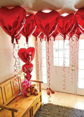 Kit 20 Balão Metalizado Vermelho 45 Cm Namorados