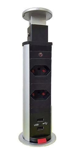 Torre De Tomada Multiplug Retrátil Com Usb Embutir Mesa