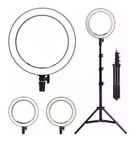 Ring Light 8  Luz Para Live Maquiagem Led Selfie Tripé 1,60m
