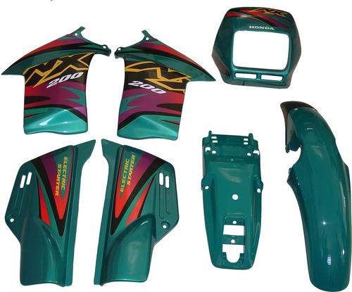 Kit Carenagem Adesivado Nx 200 Verde 99 - Marca Paramotos
