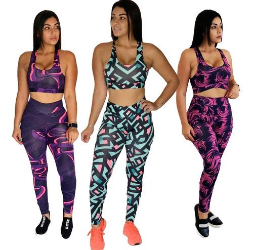 Kit C 03 Roupa De Academia Fitness Estampado Feminino