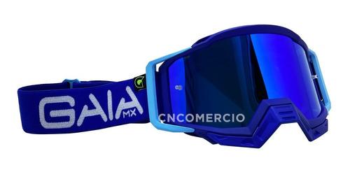 Óculos Gaia Mx Pró Blue Raze Azul Motocross Velocross Trilha