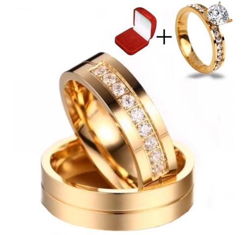 Lindo Par De Alianças Para Casamento Ou Noivado Cor Ouro 18k