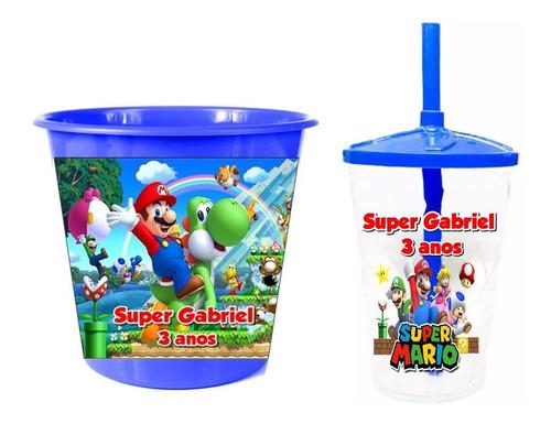Copo Twister+balde De Pipoca Lembrancinha Personalizada 40un
