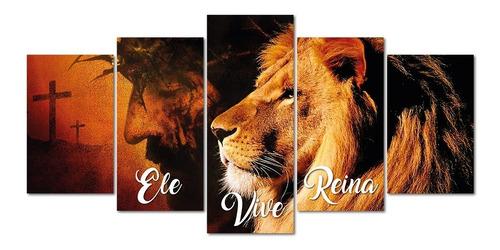 Quadros Decorativos Leao Juda Ele Vive Reina Jesus Cristo