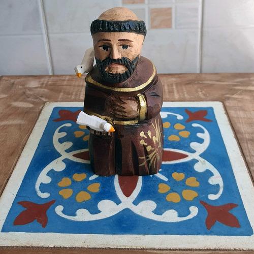 São Francisco Imagem Entalhado Em Madeira Escultura Rústico