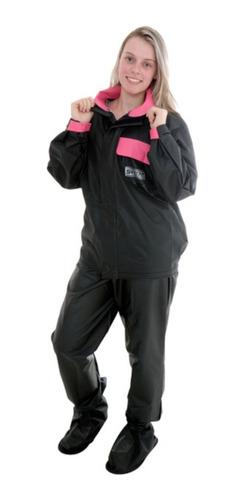 Capa Roupa Conjunto De Chuva Motoqueira Feminina Rosa 23831