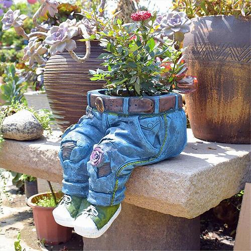 Pantalones De Mezclilla De Resina Maceta De Jardín Decoració
