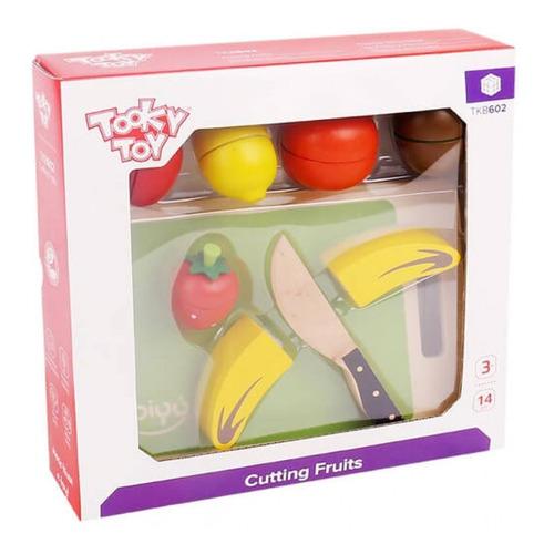 Conjunto Cortando Frutas Em Madeira Tooky Toy
