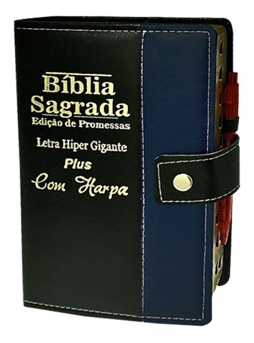 Bíblia Sagrada Hipergigante Bicolor Botão C/ Harpa 14x21cm
