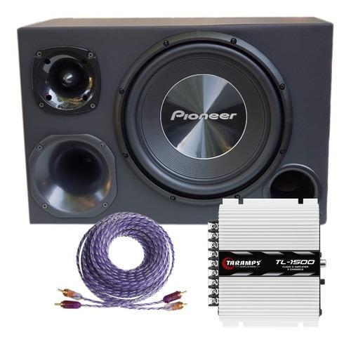 Taramps Tl1500+boca Cara Preta Trio Pioneer 12completa 700w