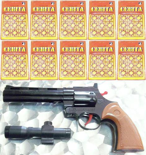 Revólver Caño Largo Pistola Juguete + 720 Cebitas Shots Pack