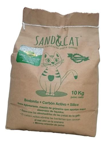 Arena Para Gatos Aglomerante Sand&cat 10kg Con Carbón Activ