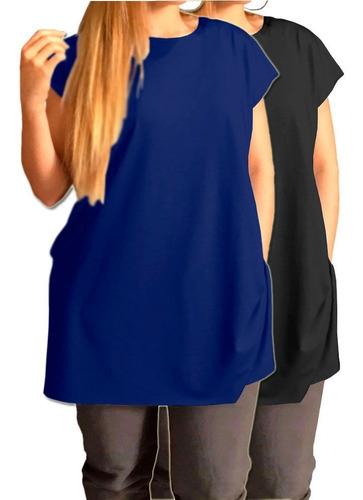 Kit 2 Camiseta Long Gg A G8 Grande Plus Size Tipo Vestido