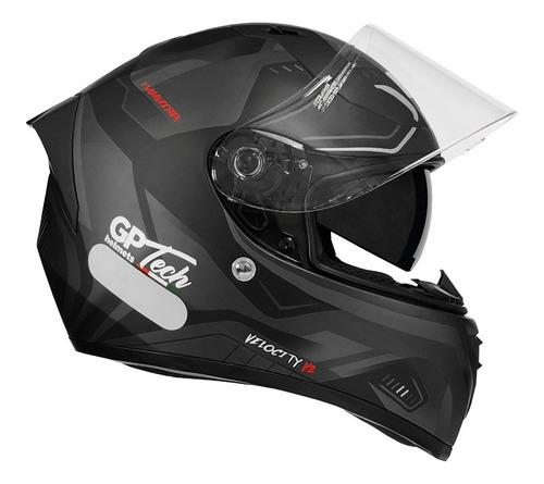 Capacete Gp Tech V128 Velocity Sv Titanium Preto Com Cinza