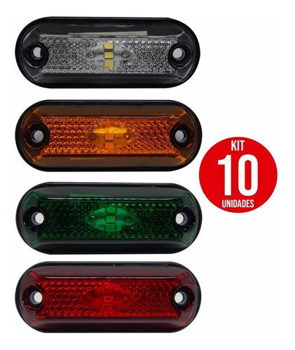10x Lanterna Delimitadora Lateral Carreta Caminhão Baú 3leds