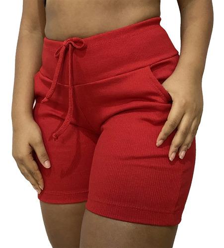 Kit 3 Shorts Feminino Cintura Alta Short Meia Coxa Atacado
