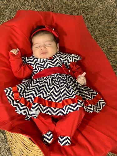 Saída De Maternidade Menina 4 Peças Vermelha Chevron Rebeca