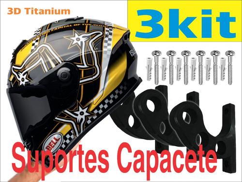 Kit 3 Suportes De Parede Para Pendurar Capacete E Acessórios