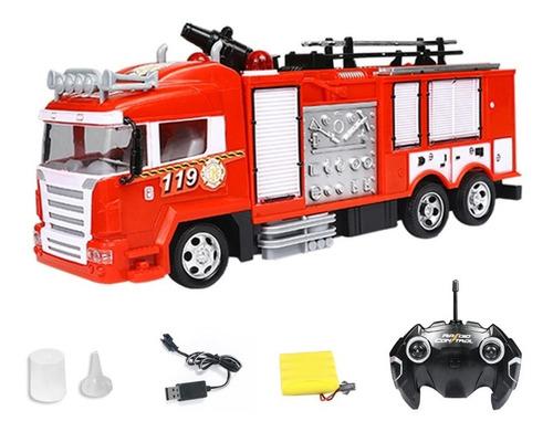 Caminhão De Bombeiros R/c , Joga Água De Verdade Lançamento