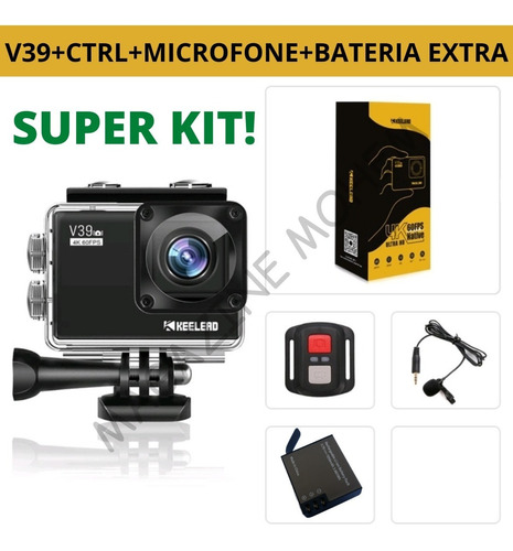 Kit Câmera Keelead V39 4k 60fps Ultra Hd + Bateria Extra