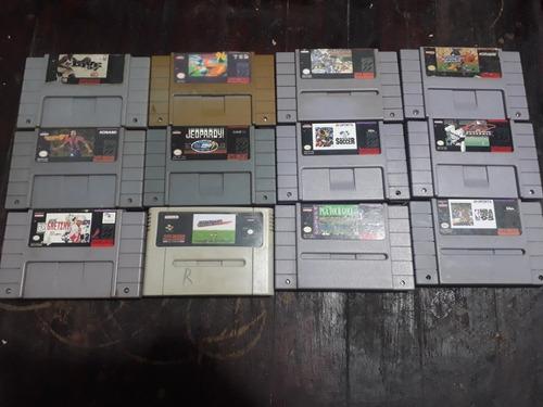12 Cartuchos De Super Nintendo De Esporte...