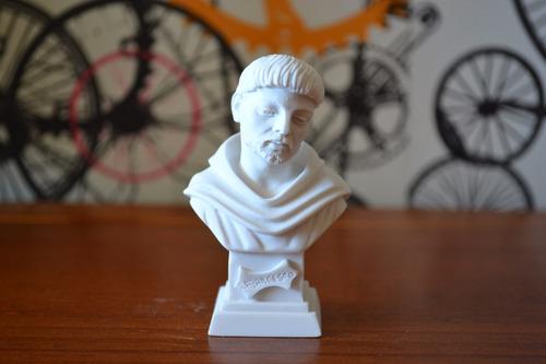 Escultura Busto São Francisco De Assis Po Marmore 11cm Italy