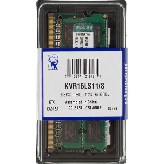 Memoria Sodimm Ram Ddr3 8gb 1600 Mhz Kingston Kvr16ls11/8