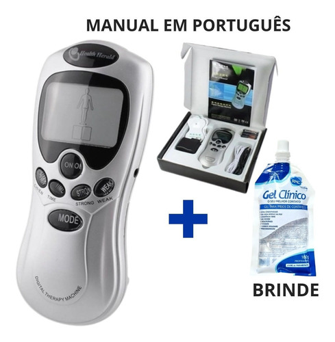 Aparelho Fisioterapia Digital Tens E Fes + Gel Brinde Manual