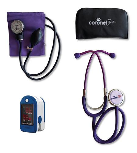 Kit Tensiometro Aneroide Coronet C/est 6 Colores + Oximetro