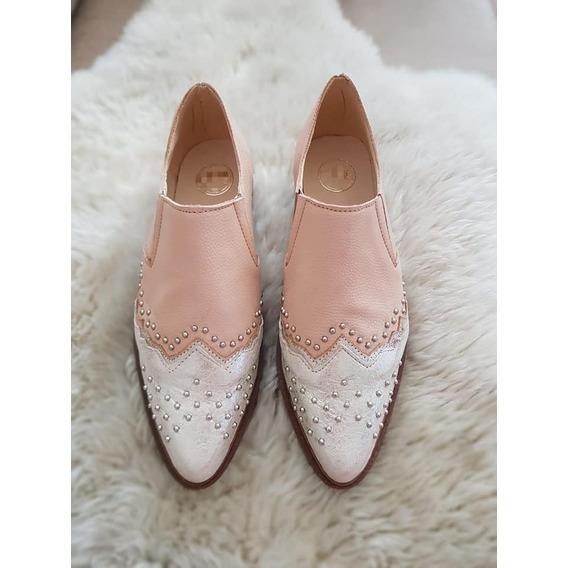 Zapatos Chatas Slippers De Cuero Vacuno 100%