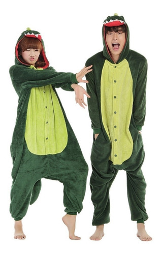 Pijama Kigurumi Cosplay Dinossauro Verde + Brinde Necess