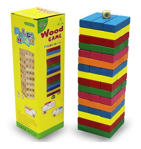 Torre Tipo Jenga De Colores Madera Bloques 48pz  Juego Mesa