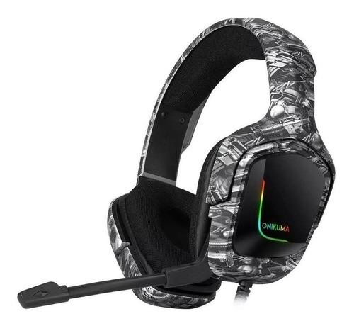 Auriculares Gamer Onikuma K20 Camuflaje Negro Con Luz  Rgb Led