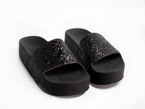 Sandalia Plataforma Alta Ojota Glitter Mujer Brillo - Rio