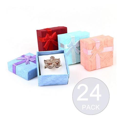 Pack 24 Cajas Carton Joyas Anillos Aros 4x4cm Regalo