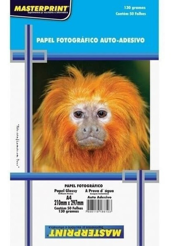 Papel Fotográfico Adesivo A4 Glossy 130g 100 Fls Masterprint