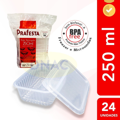 Pote Descartável 250ml Freezer Microondas Marmita - 24 Un.