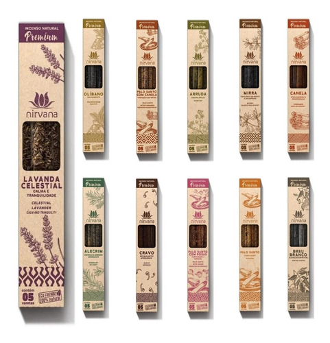 Incenso Natural Premium Nirvana 2h De Queima Escolha Aromas