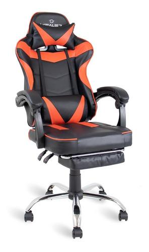 Cadeira Gamer Vermelho/preto Healer Level Reclina Apoio Pés